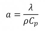 Equation Diffusivité thermique